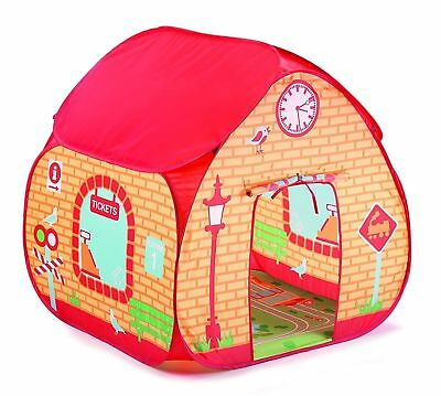 Pop Up Play Tent Childrens Train Station Design Boys Toy Outdoor Playhouse Den