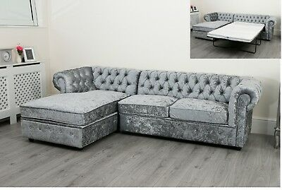 Chesterfield Corner Sofa Bed Settee Faux Leather Crushed Velvet