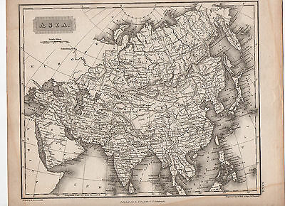 Map Of Asia 1823 Antique Original
