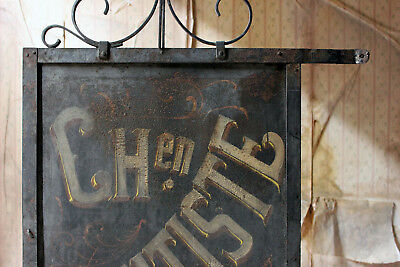 Antique Large 19thC Double Sided Cast Iron French Sign Written Dentist Sign 1880