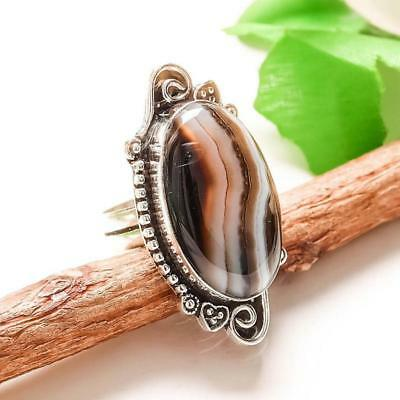 "Gray Botswana Agate  Handmade Jewelry Ring ""8.75"""