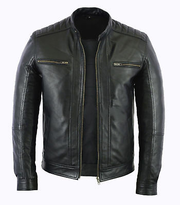 Mens Fashion Real Leather lambskin Leather Biker Style Motorcycle Classic Jacket