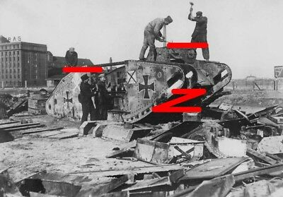 Berlin 1919. Captured British MkIV tank (Hanni) is scrapped