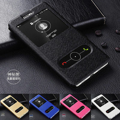 Luxury Slim Window View Slide Magnetic Flip Leather Case Cover Skin For Sony