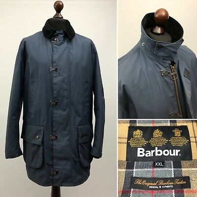 Men's BARBOUR 'Hurst' Waxed Cotton Blue Full Zip Coat Jacket Size XXL