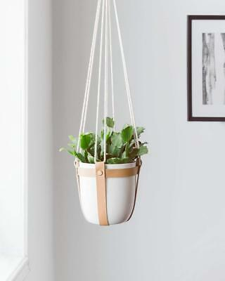 Mkono Ceramic Hanging Planter Leather Macrame Plant Hanger With Flower Pot For S