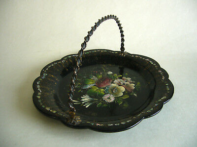 Victorian Lacqured Papier Mache BonBon Tray Dish Mother Of Pearl & Abalone Inlay