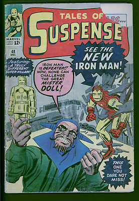 Tales of Suspense 48 raw 1.5 range.  1st Mister Doll.  Iron Man gets new Armor