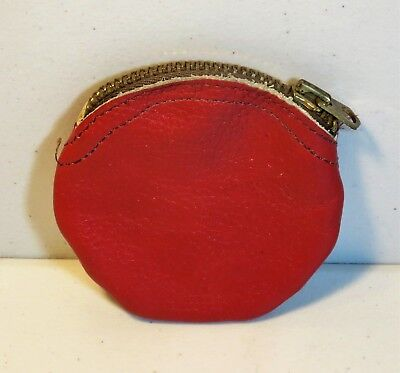 COIN PURSE zippered RED LEATHER