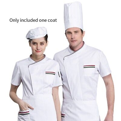 Chef Coat Kitchen Bakery Sushi Cook Jacket Restaurant Work Uniform Short Sleeve