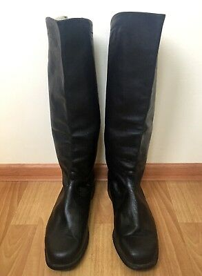 Russian Officer Boots Boxcalf Chrome 44USSR Calfskin Leather Riding Military NOS
