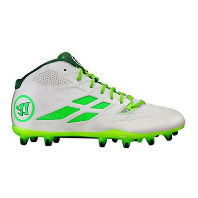 NEW Mens Warrior Lacrosse Burn 8.0 Mid Cleats White/Green Size 10 M