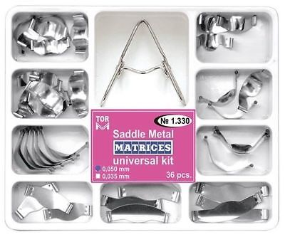 36 Dental Saddle Contoured Metal Matrices Matrix with Springclip TOR VM № 1.330
