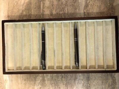 Pen Display Tray, velvet lining, wood frame