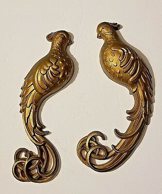Vintage 1979 Burwood Birds of Paradise Gold Wall Plaques  Hollywood Regency 13""