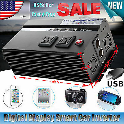 2000/4000WATT Peak DC12V-AC 110V Car Power Inverter Electronic Charger Converter