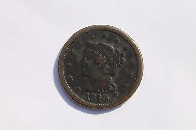 1844 Large Cent over 81 error  #LC634