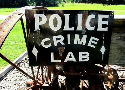Vintage Hand  Painted POLICE STATION Department SIGN Law Enforcement Crime Lab
