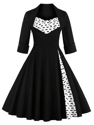 Big Sale! Women Bowknot Swing Dress Vintage Prom Dresses Formal Party Dress