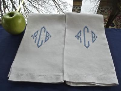 2 Antique White Huck Linen Bath Face 17x23 Towels Blue Monogram RCB Hemstitched