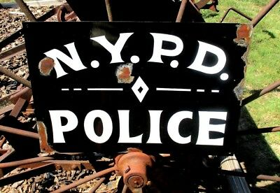 Vintage NYPD POLICE STATION Department SIGN New York Law Enforcement Sheriff