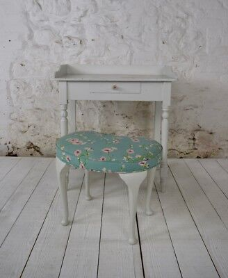 Cute antique painted dressing table with kidney-shaped stool and cushion