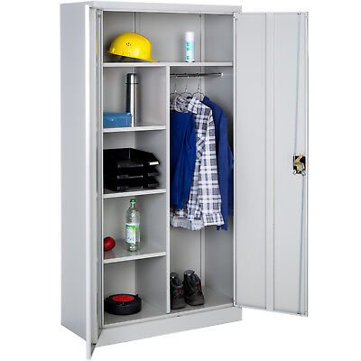 Office storage cupboard metal 4 shelves rail tool cabinet furniture 180x90x40cm
