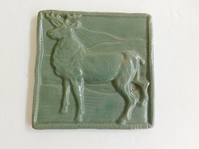 Antique Vtg ? Art Pottery Green Reindeer Deer Clay Tile Arts & Crafts Look