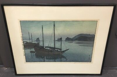 "Hiroshi Yoshida Woodblock Print ""Three Little Island"" Pencil Signed And Titled"