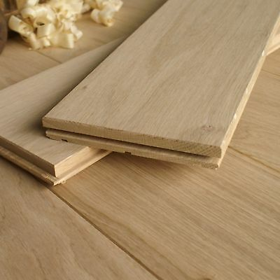 150mm Wide Bevelled & Smooth Sanded Solid Oak Flooring - Natural Hardwood D15N