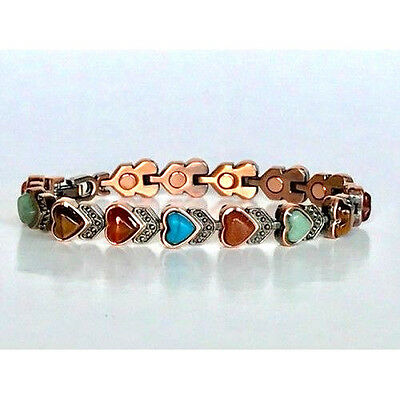 """ARTHRITIS   7"""" COPPER HEARTS with  STONES MAGNETIC  BRACELET  NWT 5397"""