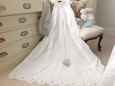 Antique 1850 / 60s Baby Hearts Broderie Anglaise Christening Gown Ayrshire Lace