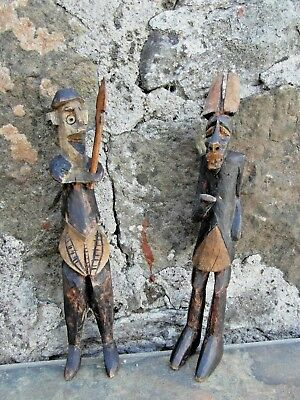 Old Zulu Warrior And Witch Doctor Hand Carved Figures. Fascinating Collectables!