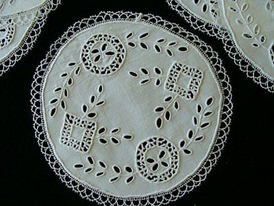 FAB Set Hand Made Needle Lace Linen Goblet Rounds Coasters Doilies Hand Embroid