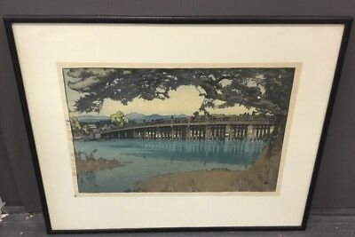 "Hiroshi Yoshida Woodblock Print ""Seta Bridge"" Pencil Signed & Titled G Condition"