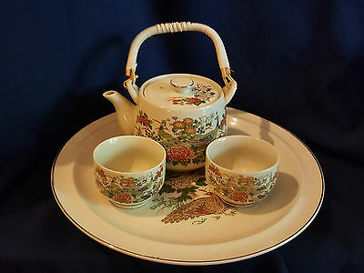 White Hand Painted Gold Trim Peacock Signed Hot Sake/Tea Set Bamboo Handle Japan