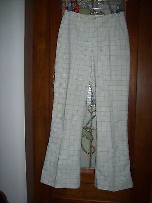 Vintage 50's 60's Green-Pink Plaid Cigarette Cropped Pedal Pusher Pant Women's S
