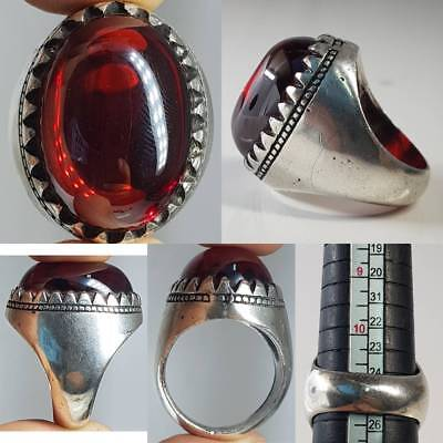 SILVER WONDERFUL RING OLD PIGEON BLOOD  NAGA STONE   # 1z