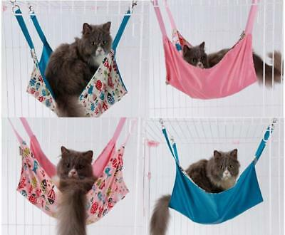 Cat Kitten Hammock Small Animal Hanging Cage Bed Rabbits Ferrets pink Reversable