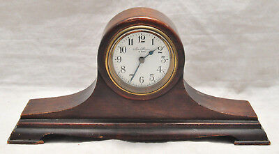 Small VTG New Haven 8 Day Wind Up Hump Back Shelf Clock