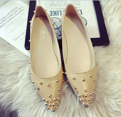 62bf389ab66d Womens Rivet Pointy Toe Flats Slip On Loafers Fashion Casual Pumps Stylish  Shoes