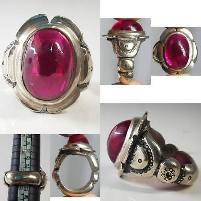 SOLID SILVER RARE UNIQUE NAGALAND PINK STONE OLD LOVELY RING  # 1z