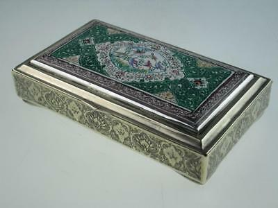 Large Antique 20th Century Persian Solid Silver Enamel Box Circa 1900