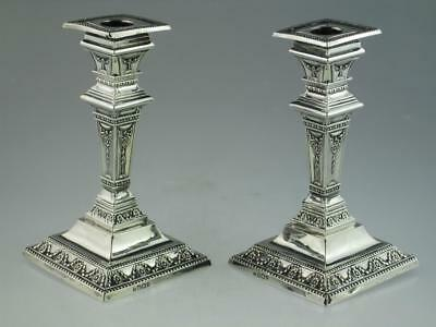 Antique Solid Silver Candlesticks Sheffield 1899 By William Charles Fordham