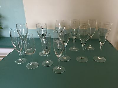 Mercier Piper Heidsieck Glass Champagne Flutes Branded Harlequin Set 12