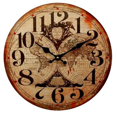34cm Wooden Wall Clock Old World Globe Atlas Map Rustic Home Decor Kitchen