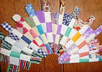 Vintage Lot of 12 CHECKERBOARD Quilt Blocks  c.1920-50's