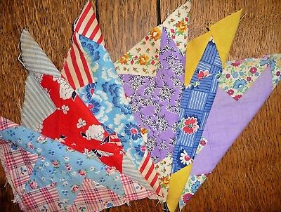 Vintage Lot of 6 EVENING STAR Quilt Blocks  c.1930-40's