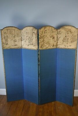 Vintage Fold Out Boudoir Art Deco Style Tapestry Dressing Screen / Room Divider