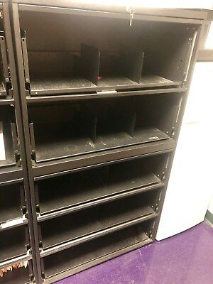 Medical File Cabinets, black, used, has doors, Teknion, lock and key,